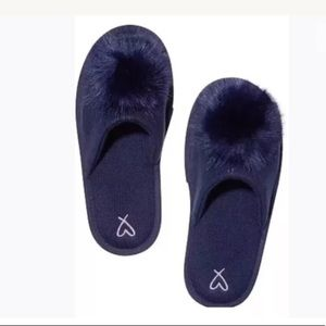 Victoria's Secret fuzzy cozy Pom Pom slipper navy